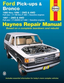 Haynes 36058 Ford Pick-Ups and Bronco Repair Manual for 1980 thru 1996