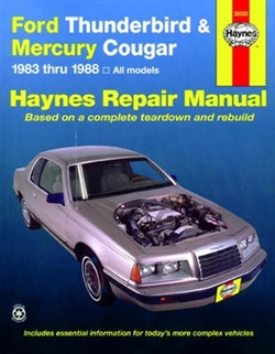 Haynes 36082 Ford Thunderbird and Mercury Cougar Repair Manual for 1983 thru 1988