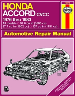 Haynes 42010 Honda Accord CVCC Repair Manual from 1976 thru 1983