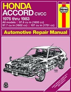 Haynes 42010 Honda Accord CVCC Repair Manual from 1976 thru 1983