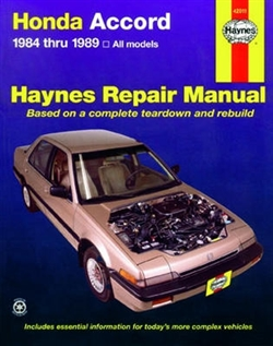Haynes 42011 Honda Accord Repair Manual Covering All Honda Accord 1.8L and 2.0L Models from 1984 thru 1989