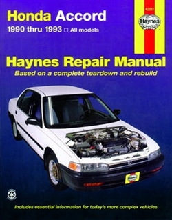 Haynes 42012 Honda Accord Repair Manual Covering All Models from 1990 thru 1993