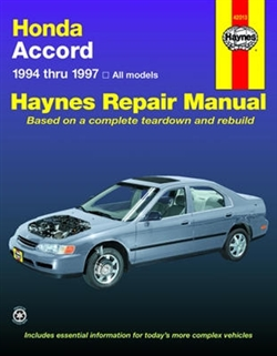 Haynes 42013 Honda Accord Repair Manual Covering All Models from 1994 thru 1997