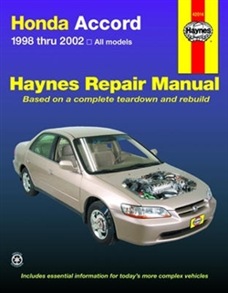Haynes 42014 Honda Accord Repair Manual Covering All Models for 1998 thru 2002