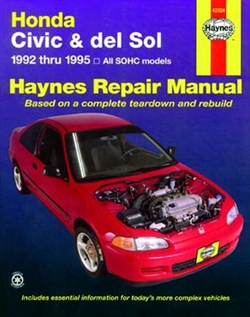 Haynes 42024 Honda Civic and Del Sol Repair Manual Covering 1992 thru 1995 Models