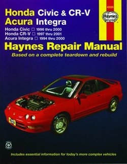 Haynes 42025 Honda Civic & CR-V / Acura Integra Repair Manual for 1996 thru 2001