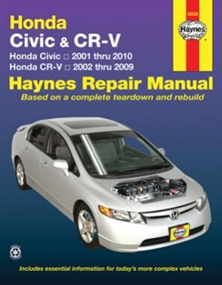Haynes 42026 Honda Civic and CR-V Repair Manual Covering The Civic (2001 thru 2010) and CR-V (2002 thru 2009)