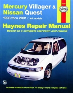 Haynes 64200 Mercury Villager & Nissan Quest Repair Manual for 1993 thru 2001