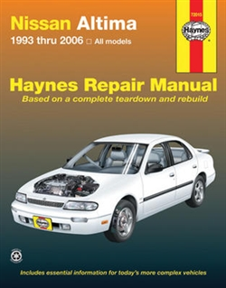 Haynes 72015 Nissan Altima Repair Manual for 1993 thru 2006 Covering All Altima Models