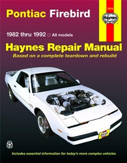 Haynes 79019 Pontiac Firebird Repair Manual for 1982 thru 1992