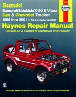 Haynes 90010 Suzuki Samurai, Sidekick, X-90 and Vitara, Geo Tracker and Chevy Tracker Repair Manual for 1986 thru 2001