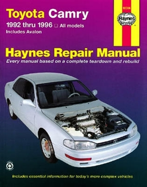 haynes repair manual for toyota camry covering camry and avalon for rh themanualstore com 1994 Toyota Camry Repair Manual toyota camry 1992 service manual