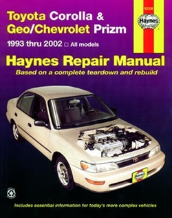 Haynes 92036 Toyota Corolla & Geo/Chevy Prizm Repair Manual from 1993 thru 2002