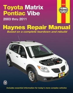 Haynes 92060 Toyota Matrix and Pontiac Vibe Repair Manual for 2003 thru 2010