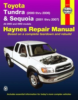 Haynes 92078 Toyota Tundra and Sequoia Repair Manual for 2000 thru 2007