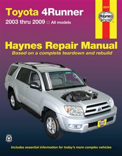 Haynes 92079 Toyota 4-Runner Repair Manual Covering All Models from 2003 thru 2009
