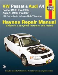 Haynes 96023 Volkswagen Passat 1998 thru 2005 and Audi A4 1996 thru 2001 Repair Manual