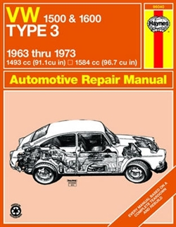 Haynes 96040 Volkswagen 1500 and 1600 Type 3 Repair Manual for 1963 thru 1973 Models